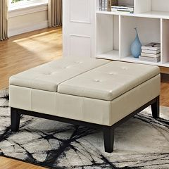 Simpli Home Dover Square Coffee Table Storage Ottoman