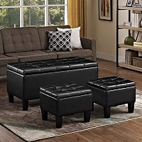 Simply Home Dover 3 pc Faux-Leather Storage Ottoman Bench Set