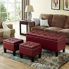 Simply Home Dover Faux-Leather Storage Ottoman Bench 3-piece Set