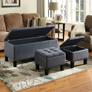 Simply Home Dover Storage Ottoman Bench 3-piece Set