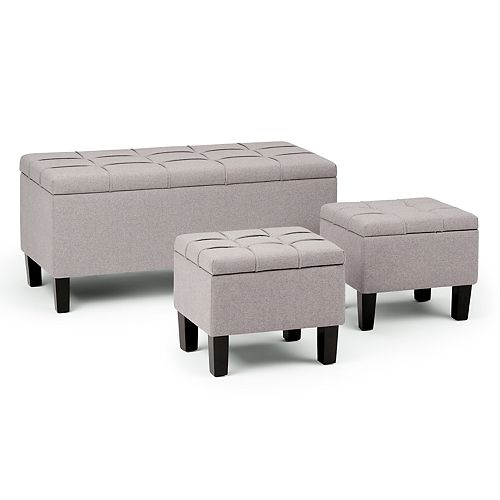Brilliant Simply Home Dover Storage Ottoman Bench 3 Piece Set Ncnpc Chair Design For Home Ncnpcorg