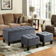 Simply Home Dover Storage Ottoman Bench 3-piece Set