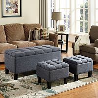 Simply Home Dover 3 pc Storage Ottoman Bench Set