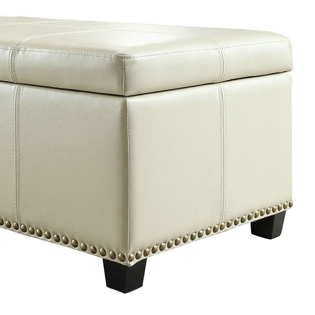 Simpli Home Kingsley Rectangular Storage Ottoman Bench