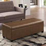 Simpli Home Kingsley Leather Storage Ottoman Bench