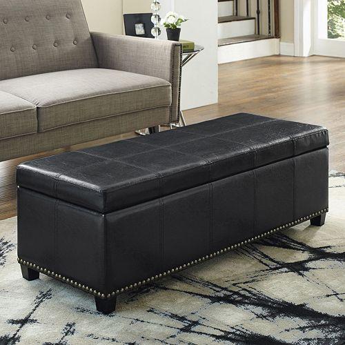 Simpli Home Kingsley Leather Storage Ottoman Bench