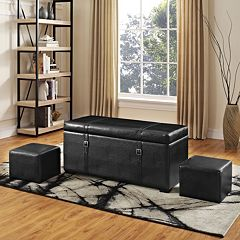 Simpli Home Dorchester Faux-Leather Storage Ottoman 5-piece Set