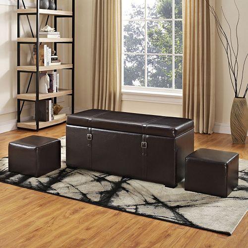 Simpli Home Dorchester Faux-Leather Storage Ottoman 5-piece Set
