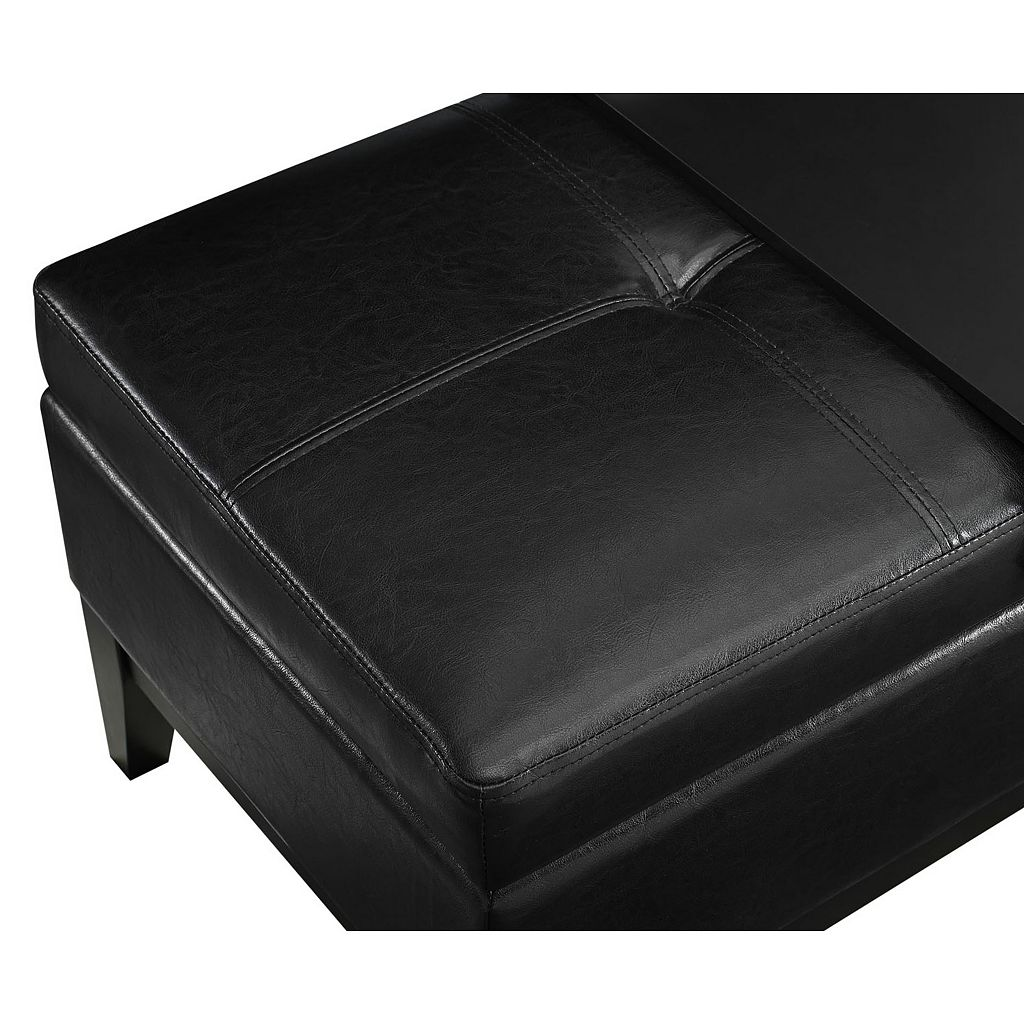 Simpli Home Oregon 2-piece Faux-Leather Storage Ottoman and Tray Set