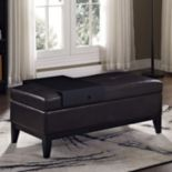Simpli Home Oregon 2-piece Faux-Leather Storage Ottoman and Tray Set