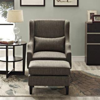 Simpli Home Ashbury 2-piece Wingback Arm Chair and Ottoman Set