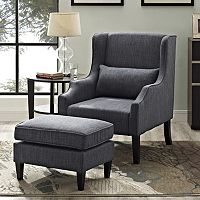 Simpli Home Ashbury 2-piece Wingback Arm Chair and Ottoman Set