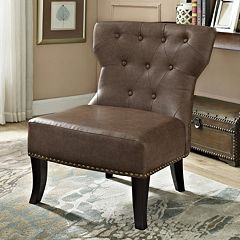 Simpli Home Kitchener Bonded Leather Accent Chair