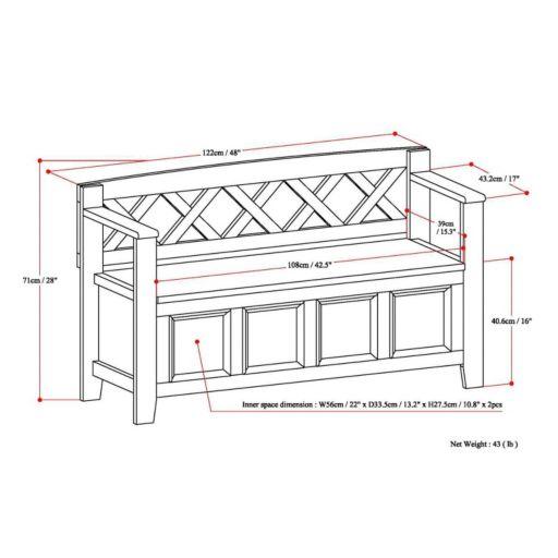 Simpli Home Amherst Pine Entryway Storage Bench