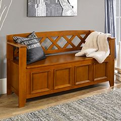 Simpli Home Amherst Pine Entryway Storage Bench