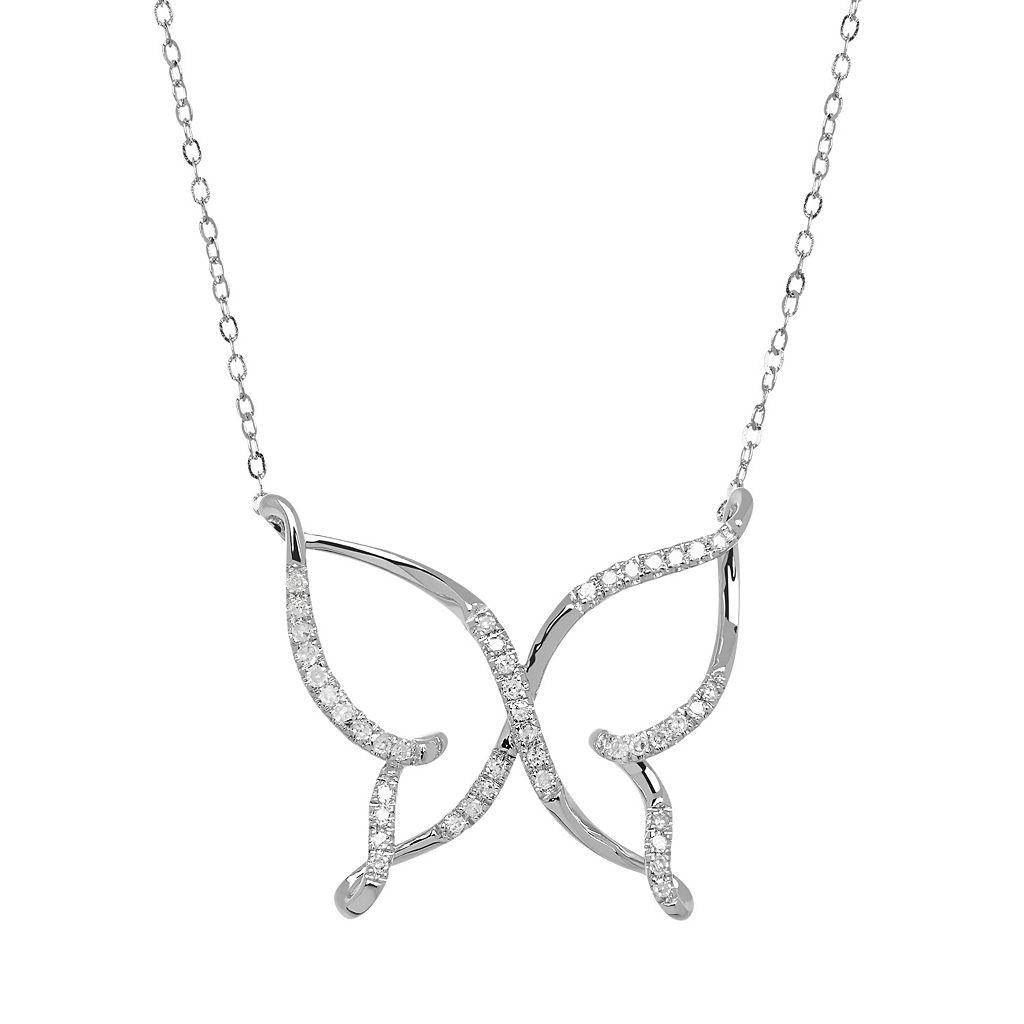 10k White Gold 1/10 Carat T.W. Diamond Butterfly Necklace