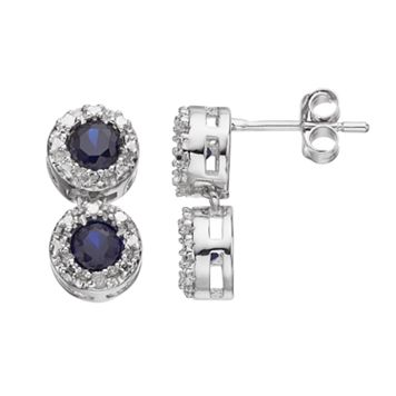RADIANT GEM Lab-Created Sapphire Sterling Silver Halo Drop Earrings
