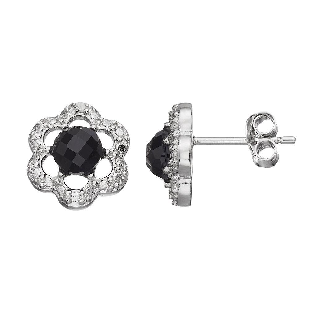 RADIANT GEM Onyx Sterling Silver Flower Button Stud Earrings