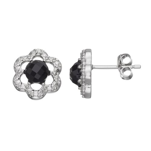 RADIANT GEM Onyx Sterling Silver Flower Button Stud Earrings