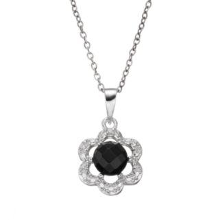 RADIANT GEM Onyx Sterling Silver Flower Pendant Necklace