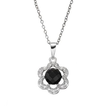 RADIANT GEM Onyx Sterling Silver Flower Pendant Necklace