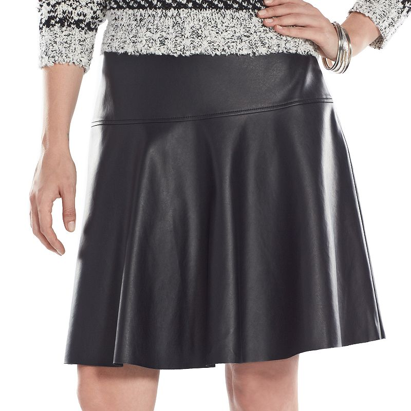 Chaps Faux-Leather Skirt - Women's