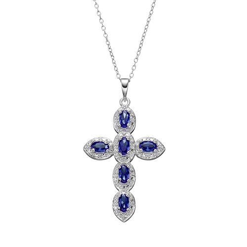 RADIANT GEM Lab-Created Sapphire Sterling Silver Cross Pendant Necklace