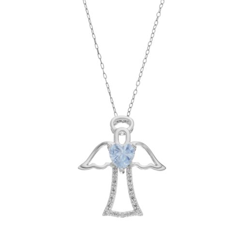 RADIANT GEM Simulated Aquamarine Sterling Silver Angel Pendant Necklace