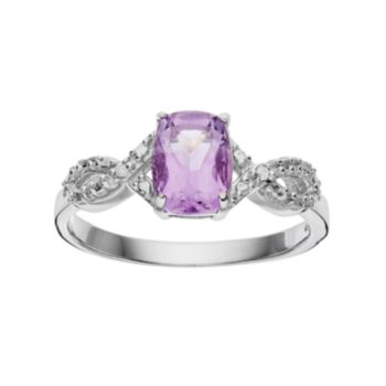 RADIANT GEM Amethyst Sterling Silver Infinity Ring