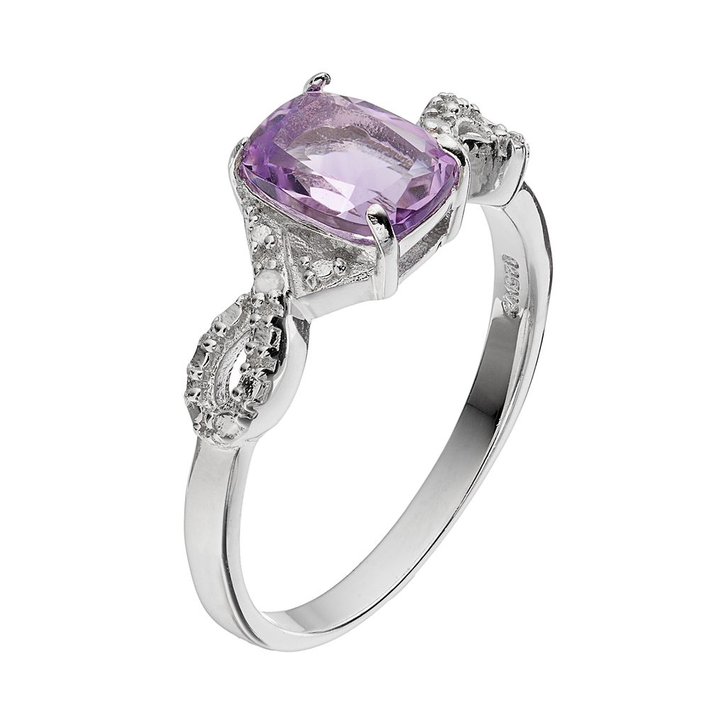 RADIANT GEM Amethyst Sterling Silver Infinity Ring