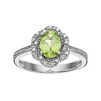 RADIANT GEM Peridot Sterling Silver Flower Ring