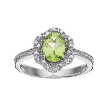 RADIANT GEM Peridot Sterling Silver Flower Ring