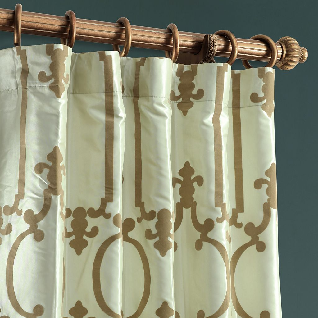 EFF Royal Gate Flocked Faux Silk Taffeta Window Curtain
