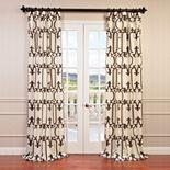 EFF 1-Panel Royal Gate Flocked Faux Silk Taffeta Window Curtain