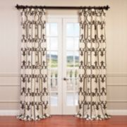 EFF 1-Panel Royal Gate Flocked Faux Silk Taffeta Window Curtain