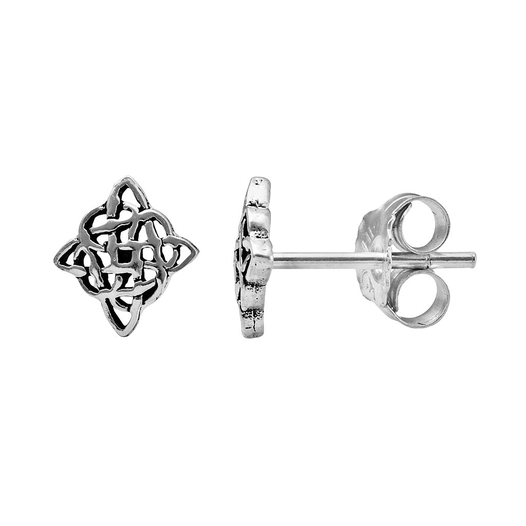 Itsy Bitsy Sterling Silver Celtic Square Stud Earrings