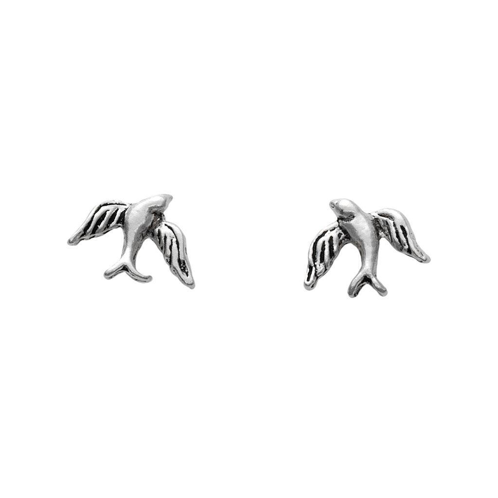 Itsy Bitsy Sterling Silver Bird Stud Earrings