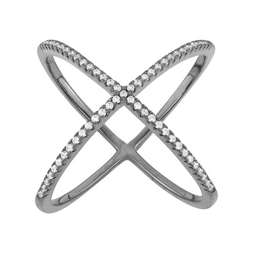 Cubic Zirconia Sterling Silver X Ring