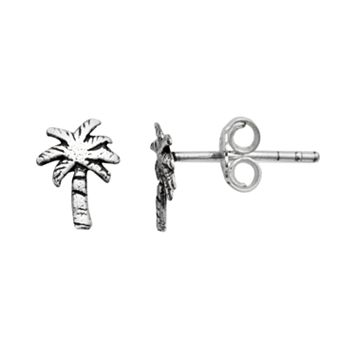 Itsy Bitsy Sterling Silver Palm Tree Stud Earrings