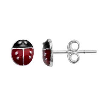 Itsy Bitsy Sterling Silver Ladybug Stud Earrings