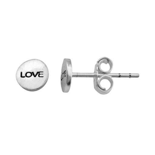 "Itsy Bitsy Sterling Silver ""Love"" Disc Stud Earrings"