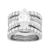 Cubic Zirconia Marquise Engagement Ring Set in Sterling Silver
