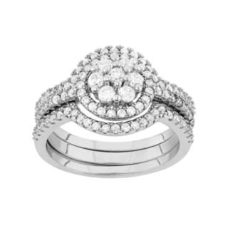 Sterling Silver Cubic Zirconia Cluster Halo Engagement Ring Set
