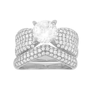 Cubic Zirconia Engagement Ring Set in Sterling Silver