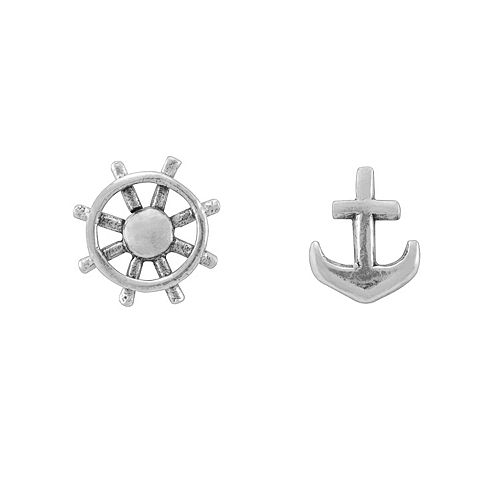 Itsy Bitsy Sterling Silver Helm & Anchor Mismatch Stud Earrings