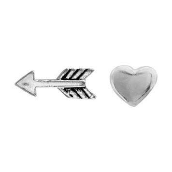 Itsy Bitsy Sterling Silver Arrow & Heart Mismatch Stud Earrings