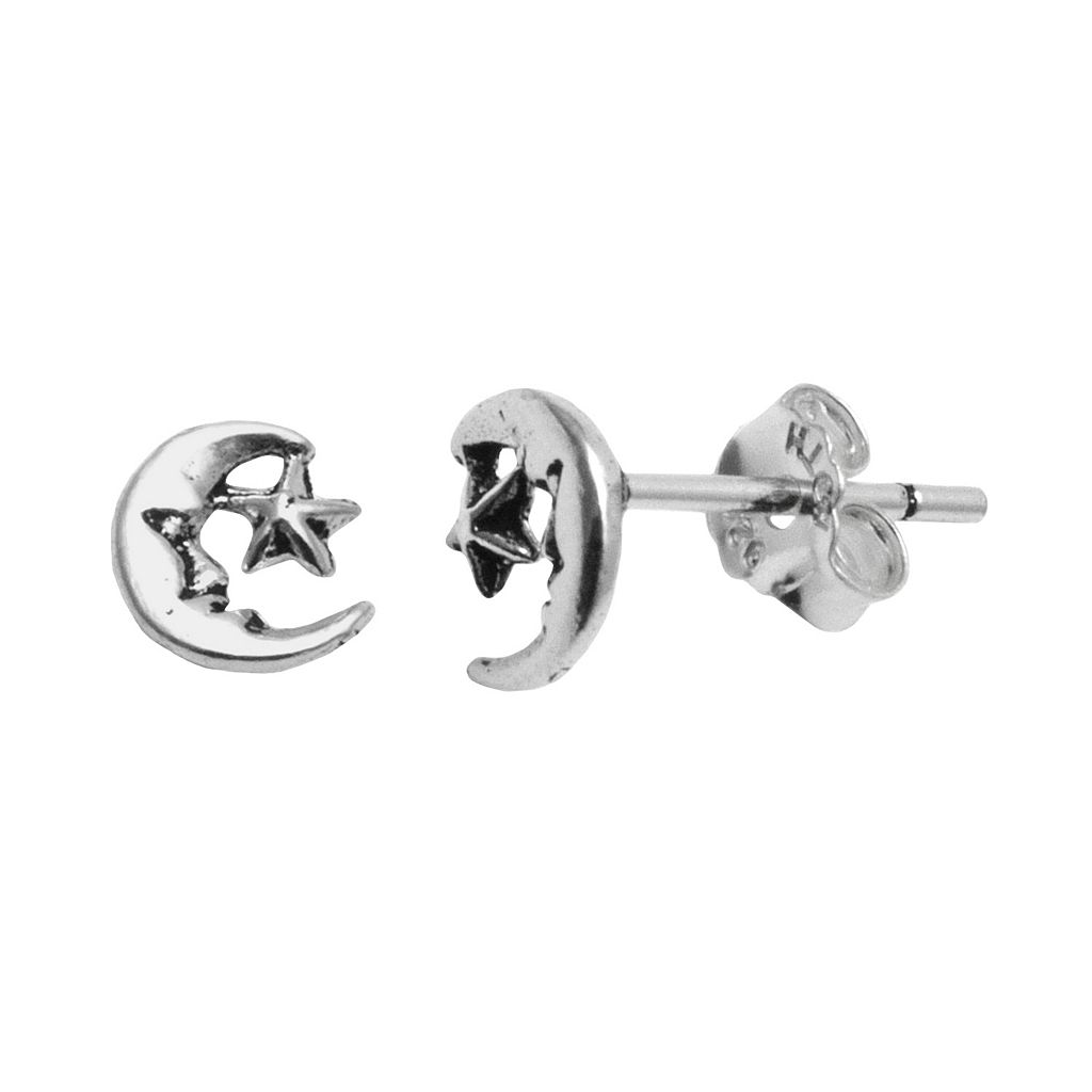 Itsy Bitsy Sterling Silver Star & Moon Stud Earrings