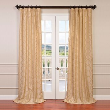 EFF Marakesh Bone Flocked Faux Silk Taffeta Window Curtain