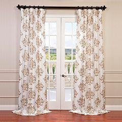 EFF 1-Panel Ankara Embroidered Faux Silk Taffeta Window Curtain