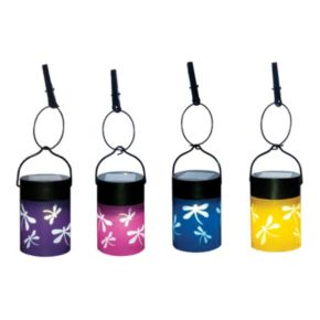 Fiesta 4-piece Hanging Umbrella LED Lantern Set